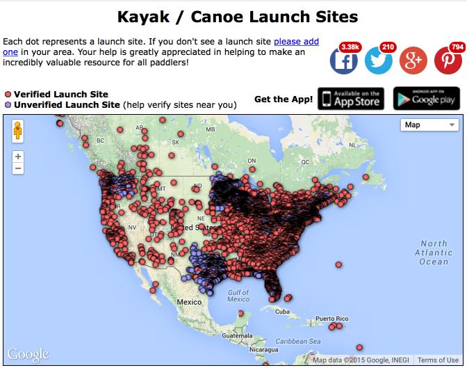 Paddling.net Launch Map