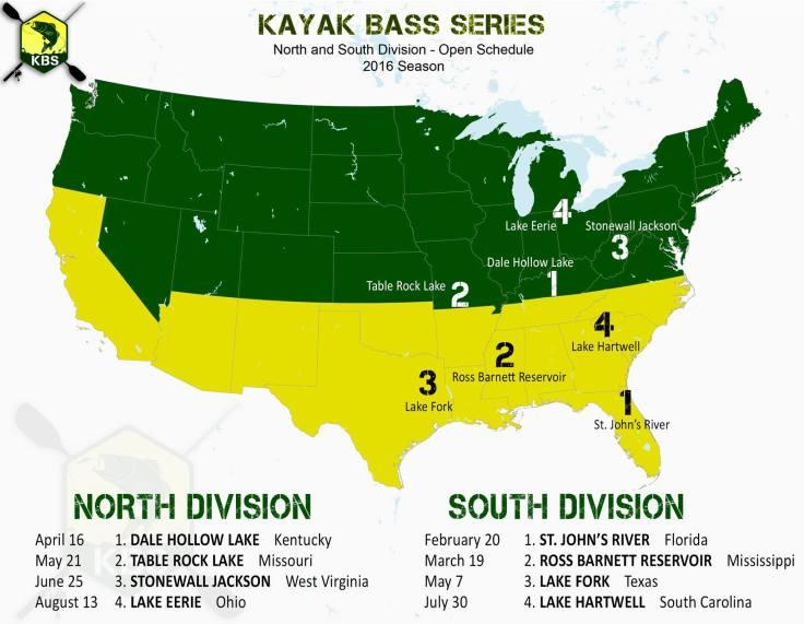 Kayak bass series 2016 schedule my fishing addiction for Kayak bass fishing tournaments